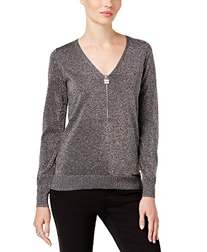 (MICHAEL Michael Kors Womens Ribbed Trim Zip-Neck Henley Sweater Silver M)