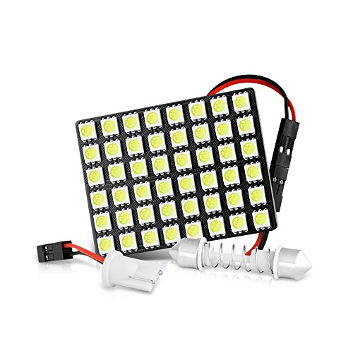 T10 Festoon - VIPMotoZ 48-SMD Pure White LED Panels For Car Interior Doom Reading Map Automobile Trunk Cargo Roof Ceiling Plate Light - 6 x 8 5050 LED Chipset, With T10 & Festoon Adapters, 1 Panel