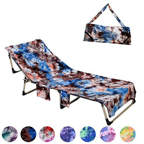 PJSNEW Beach Chair Cover, Microfiber Chaise Lounge Towel Cover with Storage Pockets for Pool Sun Lounger Hotel Garden Blue Tie-Dye (Brown)