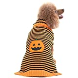 #8: EXPAWLORER Halloween Pumpkin Dog Sweater Winter Coat Pet