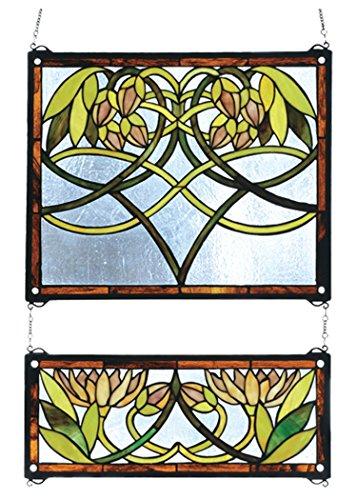 Meyda Tiffany 27233 2 Piece Waterlily Stained Glass Window, 21