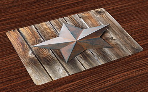 Ambesonne Primitive Country Place Mats Set of 4, Antique Rusty Star Figure on The Weathered Wooden Planks Vintage Retro Image, Washable Fabric Placemats for Dining Room Kitchen Table Decor, Brown