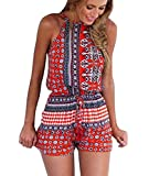 Ayliss Women's Sexy Cut Out Back Bohemian Casual Loose Romper Playsuit,Red XL