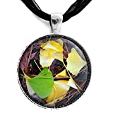 Golden Yellow Gingko Leaves Necklace Green Ginkgo Pendant Boho Fallen Leaves Handmade