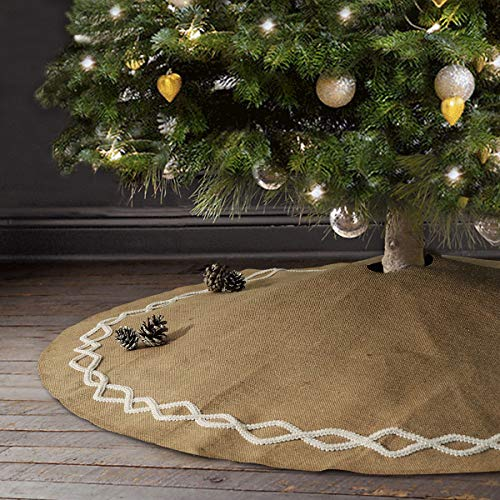 Ivenf Christmas Tree Skirt, 48 inches Large Natural Burlap Jute Plain with Hand-Sewn White Lace Decor, Rustic Xmas Tree Holiday Decorations