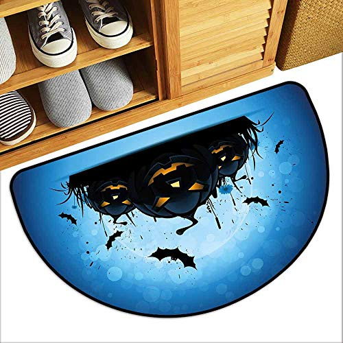 DILITECK Semicircular Door mat Halloween Scary Pumpkins in Grass with Bats Full Moon Traditional Composition Durable W30 xL18 Black Yellow Sky Blue]()