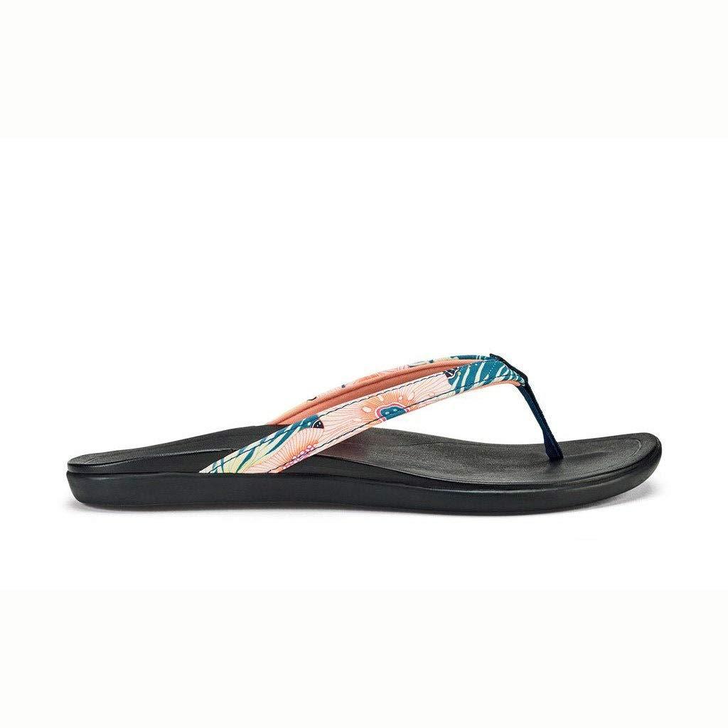 Teal coral OluKai Ho'opio Leather Sandal - Women's