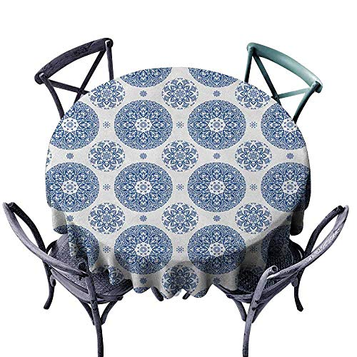 Polyester Round Tablecloth Fabric Tablecloth Vintage,French Country Style Floral Circular Pattern Lace Ornamental Snowflake Design Print, Blue White Diameter 70