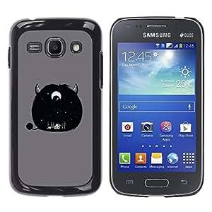 Caucho caso de Shell duro de la cubierta de accesorios de protección BY RAYDREAMMM - Samsung Galaxy Ace 3 GT-S7270 GT-S7275 GT-S7272 - Furry Cute Monster Horn Grey Eye