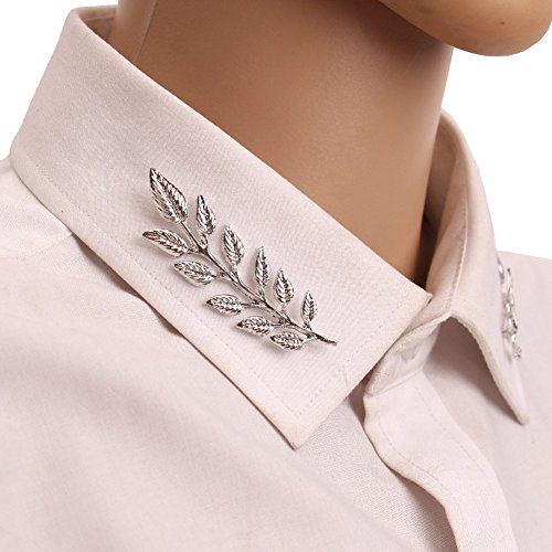 Sunvy 1pair Shirt Collar Brooch Simple Elegant Double Leaf Collar Pin Buckle Brooches Men's & Women Suits And Accessories (Double Brooch Pin)