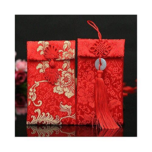 Lilith li Chinese Element Festive Silk Red Envelopes Gift Card Envelopes 2PCS/set(HF2G)