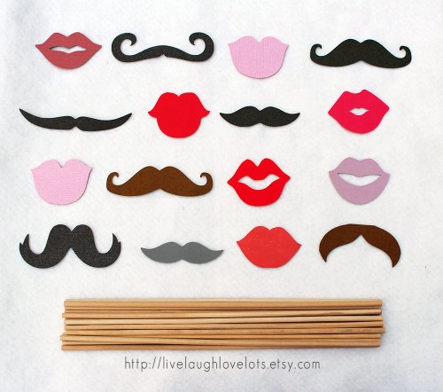 Photo Props on a stick. 16-piece assorted mustaches and lips DIY.