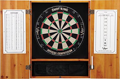 Viper Metropolitan Solid Wood Cabinet & Sisal/Bristle Dartboard Ready-to-Play Bundle: Standard Set (Shot King Dartboard), Oak Finish ()