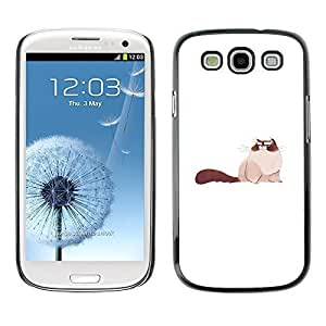 Colorful Printed Hard Protective Back Case Cover Shell Skin for SAMSUNG Galaxy S3 III / i9300 / i747 ( Big Pussy Cat Art Drawing Siamese Furry )