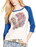 Muke Women's Indian Chief Chieftain Feather Three-quarter Length Sleeved T Shirt (M, White)