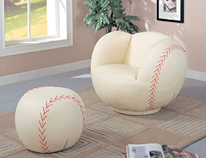 Gentil Children Baseball Chair And Ottoman