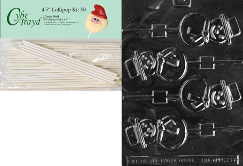 Cybrtrayd 00045St50-C117 Smiling Snowman Lolly Christmas Chocolate/Candy Mold with 50 4.5-Inch Lollipop Sticks