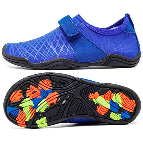 (AMAWEI Kids Water Shoes for Boys Girls,Mens Womens Garden Shoes Quick Dry Beach Swim Sports Aqua Shoes for Pool Surfing Walking (33,M02.R.Blue))