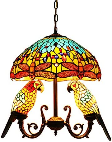 Makenier Vintage Tiffany Style Stained Glass 16 Wisteria Dragonfly Dome Shade 2 Parrot Bird Shade Chandelier Ceiling Pendant Light, Antique Bronze Finish Dragonfly Dome 2 Parrot Bird Shades
