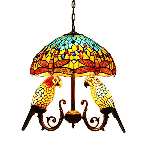 (Makenier Vintage Tiffany Style Stained Glass 16-inch Dragonfly + Double Parrots Pendant Hanging Lamp)