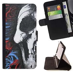 Rosas del cráneo oscuro Death Metal Oscuro Pesado- Modelo colorido cuero de la carpeta del tirón del caso cubierta piel Holster Funda protecció Para Sony Xperia Z1 Compact / Z1 Mini (Not Z1) D5503