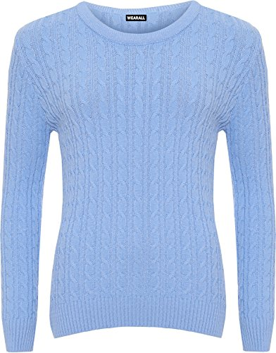 Tricoter Bleu 50 Femmes Cable Chandail Haut Femmes Dames Clair Cavalier Longue Manche 44 Tailles Hauts WearAll RE6BgOxwqg