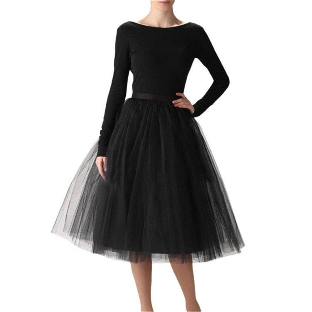 Women's 7 Layer Short A Line Elastic Waistband Tutu Tulle Prom Princess Midi Dance Skirt Black XL