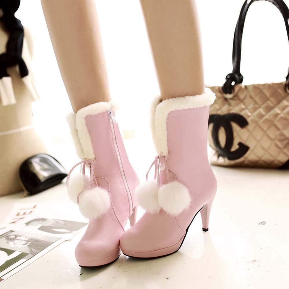 Stivali Hairball Caviglia Taglie Grandi Stivali Tacco Alto delle Donne Pink