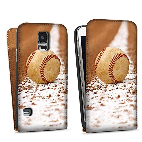 Samsung Galaxy S5 Tasche Schutz Hülle Walletcase Bookstyle Baseball Sportplatz Ball