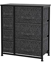 7 Drawer Storage Organizer, Fabric Dresser Tower with Steel Metal Frame, Wooden Top, Easy Pull-in-out Drawers for Bedroom, Closet, Living Room, Entryway, Nursery Room (Black)