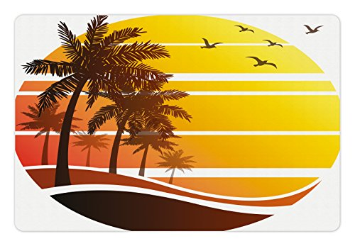 Ambesonne Tropical Pet Mat for Food and Water, Sunset at Exotic Beach with Palm Trees Birds Summer Vacation Label Style, Rectangle Non-Slip Rubber Mat for Dogs and Cats, Yellow Coral Brown ()