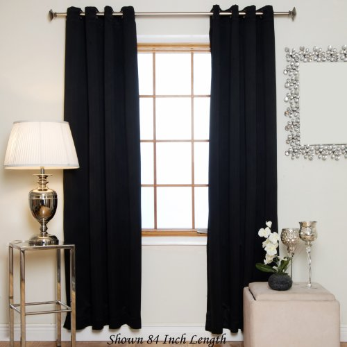 Blackout Curtain Black Antique Brass Grommet Top Thermal Insulated 120 Inch Length - Polyester Pair Insulated Curtains Thermal