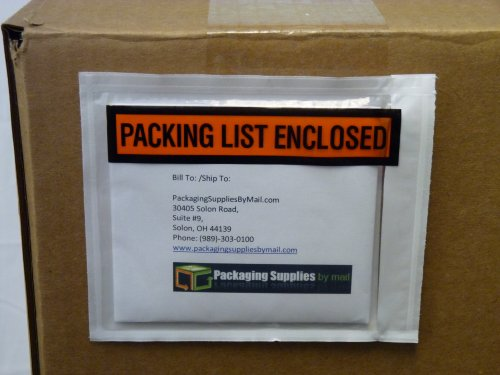 """Packing List Enclosed Envelope Panel Face Back Side Load 2.0 Mil Thick - 4.5"""" X 6"""" 1000 / Case"""