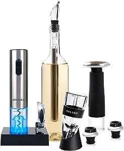 Secura Wine Lovers Gift Set 12-Piece Wine Accessories Set Electric Wine Opener, Wine Foil Cutter, Wine Aerator, Wine Saver Vacuum Pump + 2 Wine Stoppers