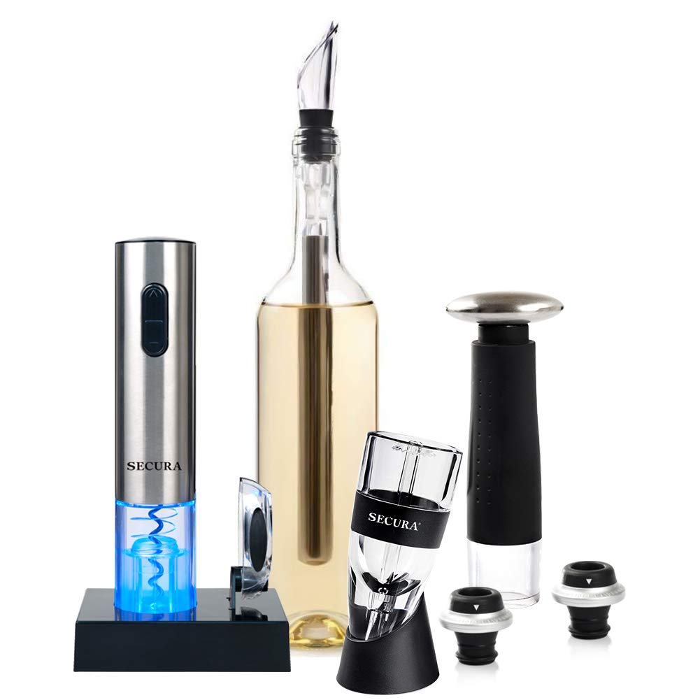 Secura Wine Lovers Gift Set 12-Piece Wine Accessories Set Electric Wine Opener, Wine Foil Cutter, Wine Aerator, Wine Saver Vacuum Pump + 2 Wine Stoppers by Secura