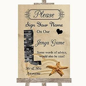 Letrero de playa de arena para boda, colección Sandy Beach Jenga, libro de invitados, cartel de boda Framed Rose Gold Large: Amazon.es: Oficina y papelería