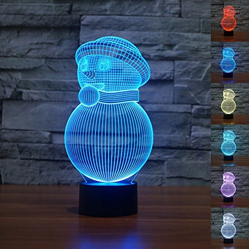 3D Optical Illusion christmas snowman Lamp Visual Cute Snowman Desk Night Light for Christmas Decor 7 Colors Change 3D Lamp Christams LED Night Light