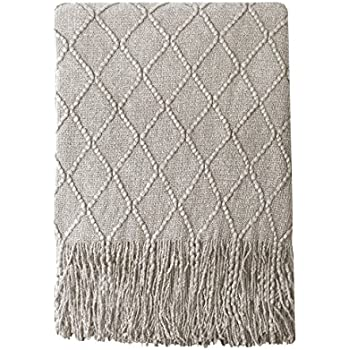 BOURINA Beige Throw Blanket Textured Solid Soft Sofa Couch Cover Decorative Knitted Blanket, 50