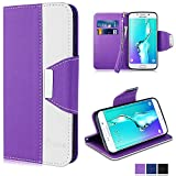 Galaxy S6 Edge Plus Case, Vakoo [Flip Case] [Premium PU-Leather] Mobile Phone Protector Case Cover for Samsung Galaxy S6 Edge Plus (Purple White)