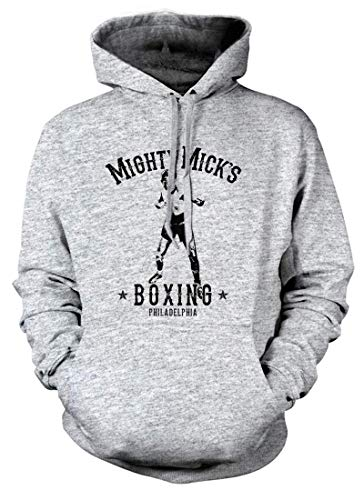 BathroomWall Rocky Movie Inspired Mighty Micks Boxing, Hoodie, Medium, Heather Grey