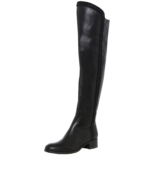 Le Pepe Women's Stitch Trim High Leather Boots Black
