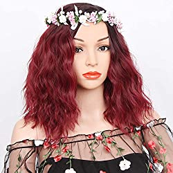 AISI HAIR Dark Red Wig Wavy Ombre Wigs Heat Resistant Wigs Synthetic Curly Short Hair for Women Shoulder Length