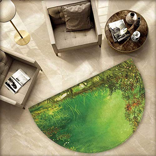 Rainforest Semicircle Doormat Mystic Dreamland Butterflies Fairytale Land Grass Flowers Lizard Romantic Scenic Art Halfmoon doormats H 66.9