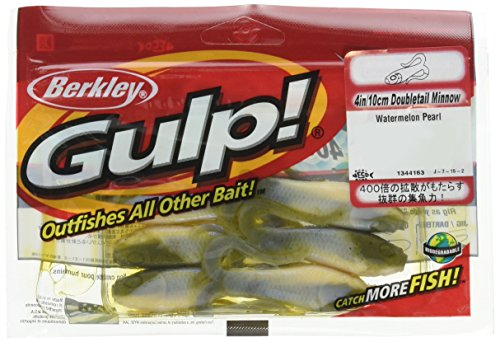 (Berkley Gulp Double Tail Minnow Grub Watermelon Pearl Fishing Bait, Multi, 4