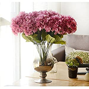 Youngman 5 Heads Hydrangea Beautiful Artificial Flower Bunch Bouquet Home Wedding Decor (Cameo) 114
