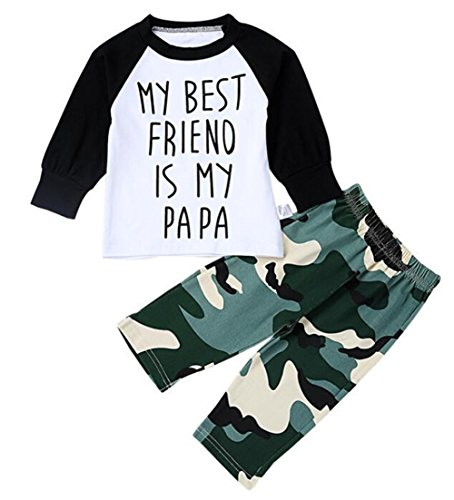 Baby Boy My Best Friend is My Papa Long Sleeve Raglan T-Shirt + Camouflage Pants Set Outfit 2Pcs Size 12-18Month/Tag80 (Camouflage)