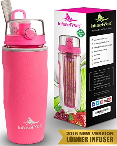 Infuser Water Bottle with Unique Full Length Infuser and Insulating Sleeve - Multiple Colors Options - Large 32 Oz Sport Water Bottle - Your Healthy Hydration Made Easy - Bubblegum Pink