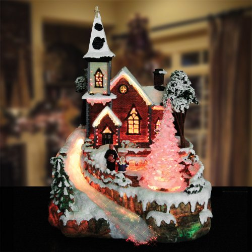 Christmas Snow Village Fiber Optic Church Chapel Winter Collectible by Banberry Designs (Image #1)