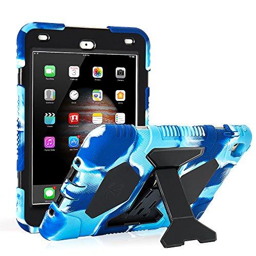 Black Premium Silicone Cover - iPad Mini 4 Case ACEGUARDER Full Body Protective Premium Soft Silicone Cover with Adjustable Kickstand (Colorful Black)