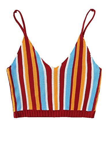 (Verdusa Women's Beach Camisole Deep V Neck Striped Knit Crop Cami Top Multicolored M)